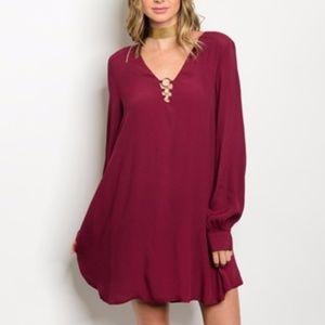 WOMENS Burgundy Mini Tunic Dress Long Sleeves